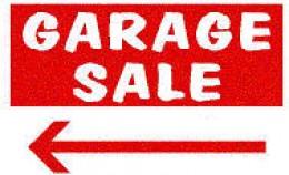 A cut off garage sale sign.