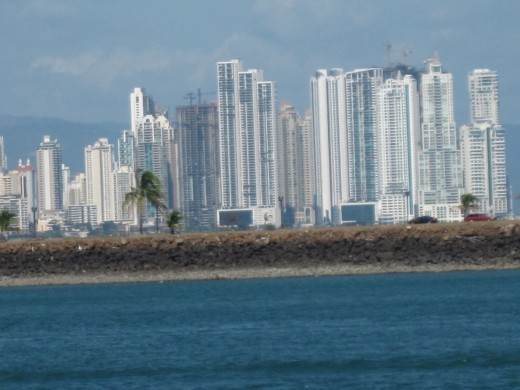 Panama City skyline viewed from the Panama Canal.