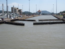 One set of the Miraflores Locks on the Panama Canal beginning to open.