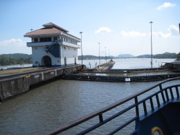 Waiting for water level in one of the Miroflores Locks on the Panama Canal to adjust to water level on other side of lock.