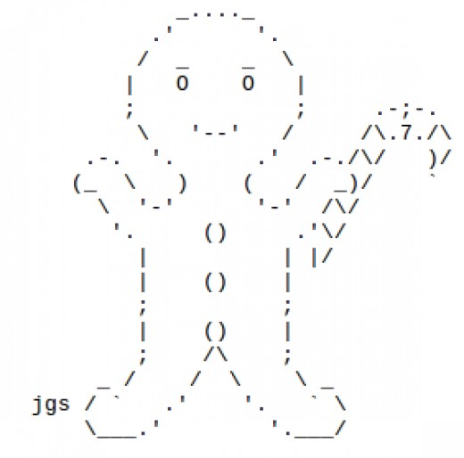 Gingerbread men in ascii text art for Ascii text decoration