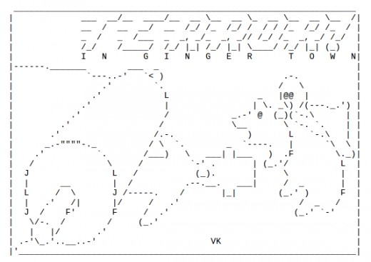 Gingerbread men in ascii text art for Ascii text decoration