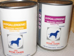 Royal Canin is an example of a Hypoallergenic pet food that can be given to allergic dogs. It is only available through your vet and costs around $2.00 per can.