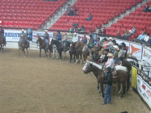 Towards the end of the competition, the riders lined their horses up into a circle, and it covered the entire arena!