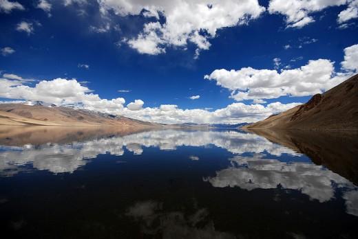 Scenic Tso Moriri Lake, Kashmir