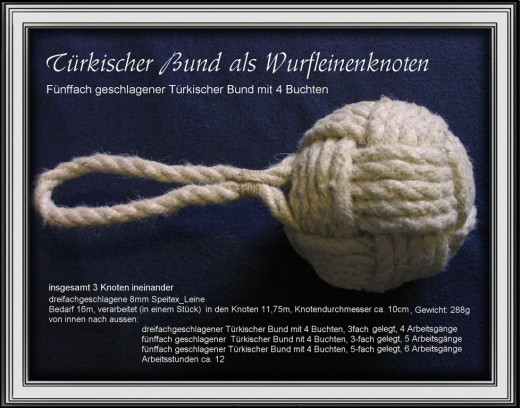 This is actually a combination of three knots within each other and knotted so tight that it is as hard as a rock. 'Wurfline' would be a weighted line/rope to be 'thrown'.