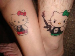 A non name example of a love tattoo for couples in love