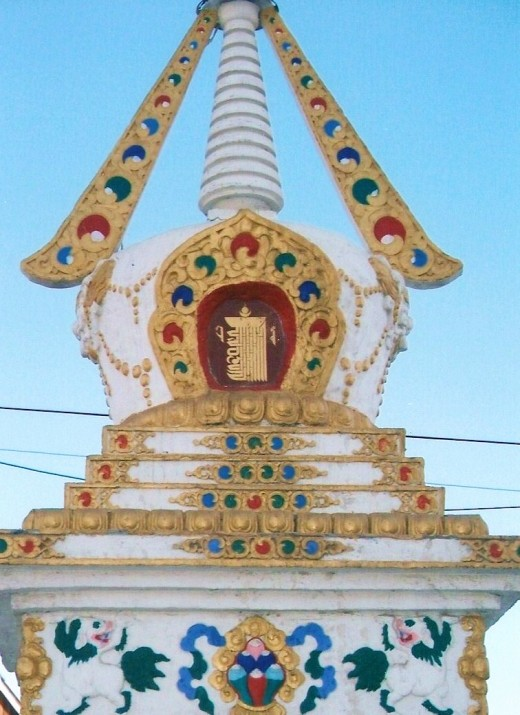 A chorten is a sacred tower that contains a Buddhist relic.