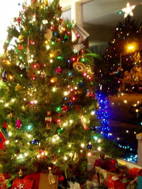 Christmas lights looking like fireflies.