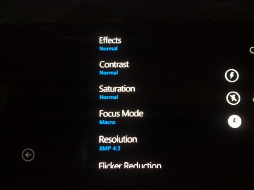 Camera settings on first boot Nokia Lumia-800