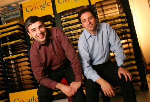 Larry Page and Sergey Brin, the co founders of Google