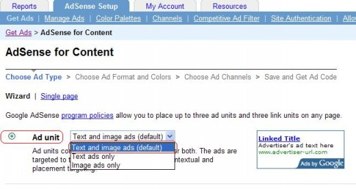 Tick the Adsense Unit radio button then choose the unit you want.