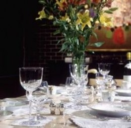 """THIS WAS OUR TABLE AT """"LOUIE'S"""" IN LOS ANGELES. ONLY THE FINEST CRYSTAL AND SILVERWARE FOR JENNIFER."""