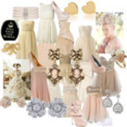 A set containing party and formal evening dresses with jewerly and high heel shoes. Mostly all of the dresses are light pink and some are white. Love all of the dresses from this set that I created.