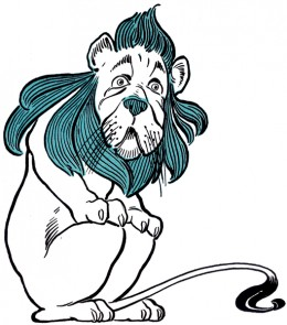 The Cowardly Lion as pictured in The Wonderful Wizard of Oz by L. Frank Baum