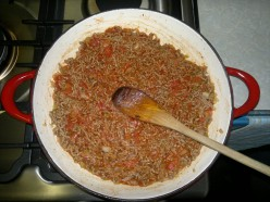 Add all the meat sauce ingredients and simmer.