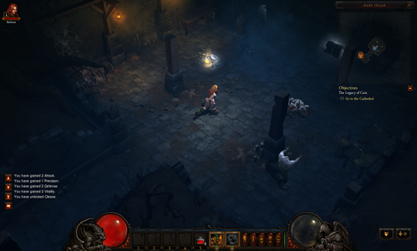 The Treasure Goblin sitting idle in a Diablo 3 dungeon.