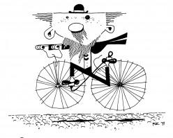 Professor, in a Bowler, on a Bike