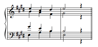 Complete I chord, tenor a bit too high.
