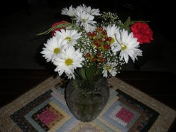 A Christmas bouquet of flowers.
