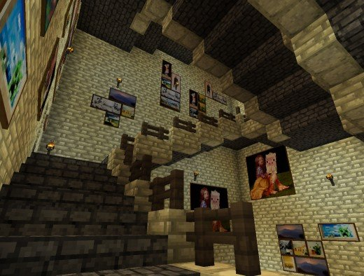 The infamous Hogwarts staircases, rendered in Minecraft-o-vision.