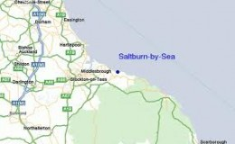 Saltburn map showing main links along the coast towards Whitby