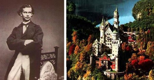 King Ludwig II of Bavaria and Neuschwanstein Castle - the fairy tale castle he had built.
