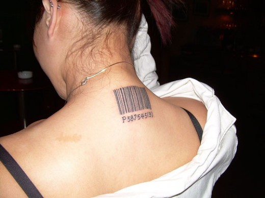 Barcode Back of Neck Tattoo