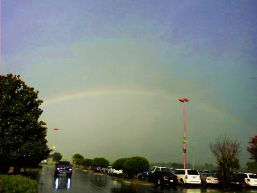 Rainbows are caused by raindrops refracting sunlight.