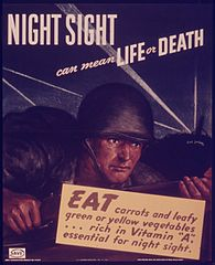 World War II poster advocating need to eat vitamin A-rich foods.