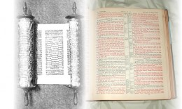 Torah, associated with the Old Testament on the left (PD); the New Testament on the right (copyright Rod Martin, Jr).