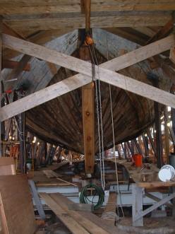 Restoration work being done on Charles W. Morgan.