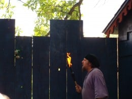 Fire eating show.