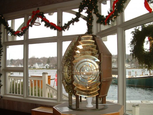 Fresnel lens on display in the Mystic Seaport WelcomeCenter.