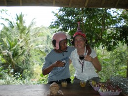 My friend, travel guide and motorcycle driver Tambun and I at a tropical coffee tasting.