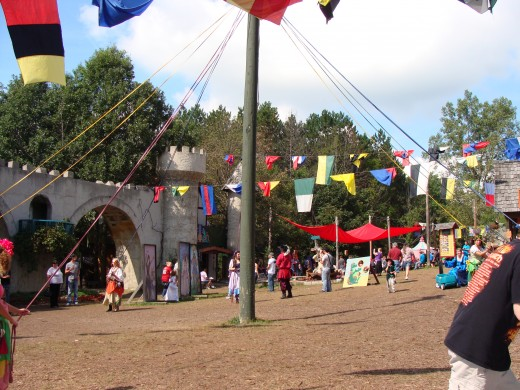 The Maypole with the buildings in the background.