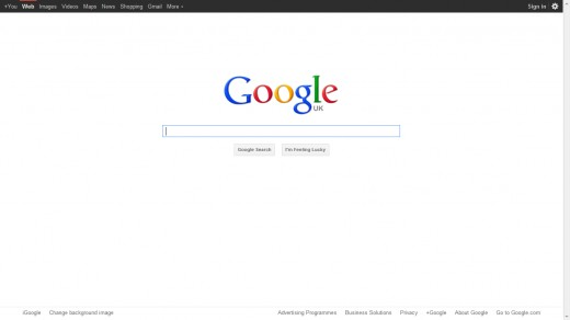 Google search page, a simple but most powerful search engine on planet earth.