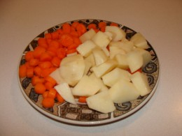 Add the chopped carrots and potatoes.