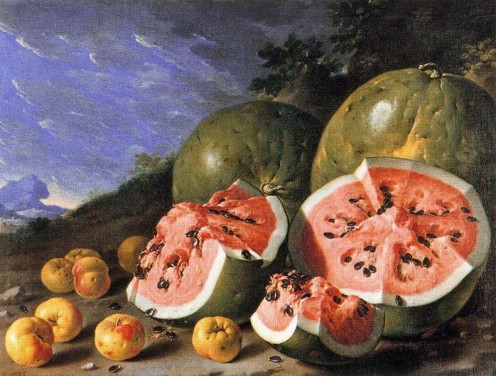 Luis Melendez, still life, Watermelons and apples, Museo del Prado, Madrid - Public Domain via Wikimedia Commons