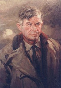 "This is the only portrait for which Rogers ever ""sat"", showing him in his flight suit. The oil painting is by Count Arnaldo Tamburini."