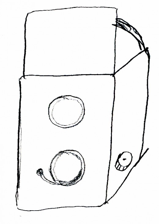 Simple sketch of old-fashioned twin-lens-reflex format camera