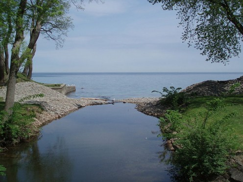 A view of Lake Ontario from the Canadian side.