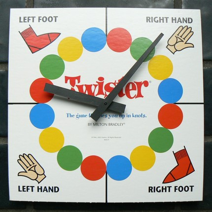 Twister is a game by Milton Bradley, a division of Hasbro. Description at Flickr: