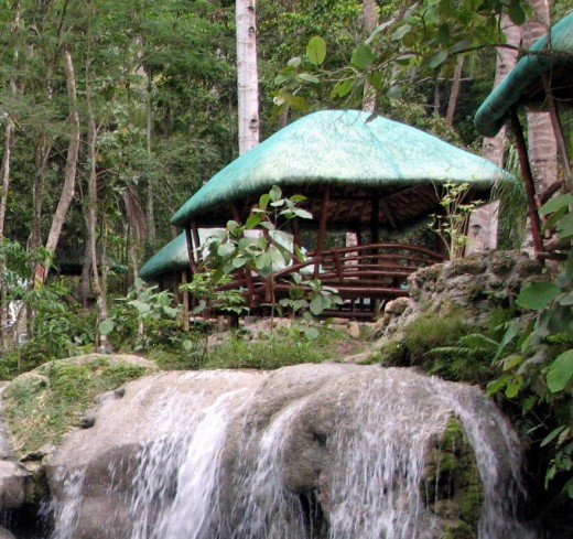 huts on top of Hagimit Waterfalls