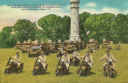WILDER MONUMENT OF CHICKAMAUGA BATTLEFIELD WITH MECHANIZED TROOPS IN FOREGROUND, CHATTANOOGA, TENN