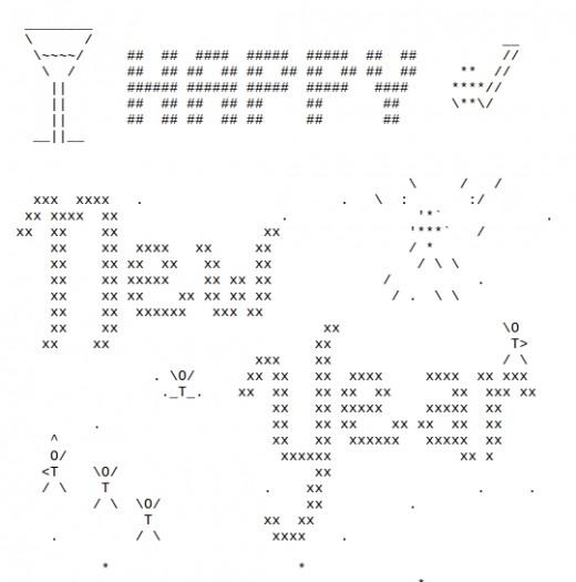 One Line Ascii Art Holidays : Happy new year ascii text art
