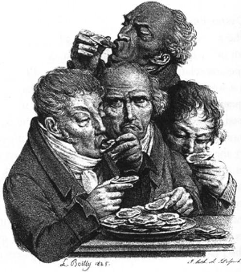 Slurping  Oysters - La Capucia Gourmand, 1884
