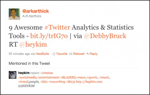 Twitter / @arkarthick: 9 Awesome #Twitter Analytics The Retweets Can Continue for many days, weeks, or even months.  twitter.com/arkarthick/status/148549381887500288