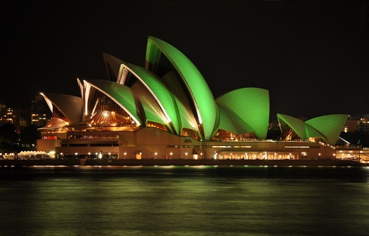Sydney Opera House lit up green for St Patrick's Day. Shared under Creative Commons 3.0.