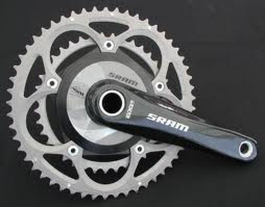 A SRAM crankset featuring a SRM power measuring system